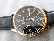 Fashion New Geneva Mens leather band stainless steel Quartz analog wrist watch