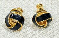 VTG Signed Monet Love Triangular Knot Enamel Blue & Gold Tone Earrings Studs
