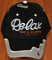 Relax God is in Control PROVERBS 3:5 I Love Jesus Christian Hat Ball Cap Camo