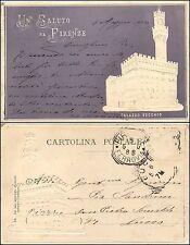 Un saluto da Firenze, Palazzo Vecchio, groffata, viaggiata 1900