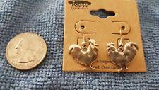 Rooster Shape Drop Dangle Hook Earrings Silver Finish, Farm, Country New