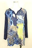 womens navy blue geometric CHICOS 3 shirt top blouse 3/4 roll tab sleeve XL 16