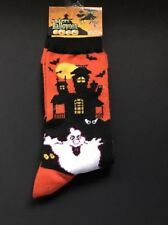 LADIES CREW SOCKS HAPPY HALLOWEEN GHOST HAUNTED HOUSE SIZE 9-11 NEW