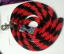 Horse Nylon Lead Rope 70 inches with steel  Swivel Snap - red /black CANDY CANE