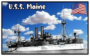 USS MAINE - NOVELTY SOUVENIR FRIDGE MAGNET - BRAND NEW / SHIPS / FLAGS / GIFTS