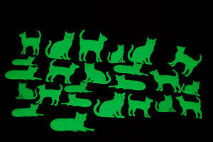 DirectGlow 24 Piece Glow in the Dark Cats Wall and Ceiling Decor