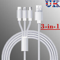 3 IN 1 USB Charger Charging Data Sync Lead Cable for Apple Android iPhone iPad