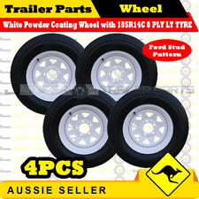 185R14C 8 PLY 14 inch Wheel Rim & Tyre x 4PCS Boat Box Trailer Caravan Ford Stud