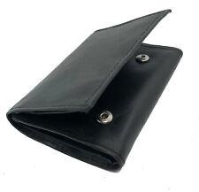 Black Genuine Leather Keychain Men's Trifold Wallet Money Key Ring Holder