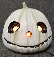 Halloween Pumpkin Jack O Lantern White Jack Skellington Sunken Eye Decor Prop