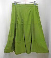 Vintage Lime Green A-Line Skirt - Fitted Waistband - Raised Topstitching