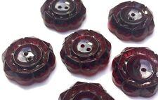 6 brillantes granate 2cm Vintage Botones