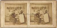 Scena Da Genere Nel La Cucina Foto Stereo Vintage Albumina Ca 1860