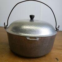 Vintage CLUB Hammered Aluminum Round 4.5 QT DUTCH OVEN POT w/LID Bail Handle