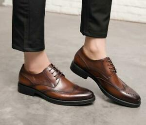Cool Men's Genunie Leather Carved Lace Up Formal Dress Oxford Shoes Brogue Shoes