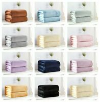 Warm Fleece Blanket Throw Rug Super Soft Plush Solid Color Sofa Bed Home Decor