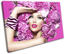 Fashion Female Girl Pink Flower Fashion SINGLE CANVAS WALL ART Picture Print