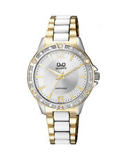 Q&Q by Citizen F533J411Y Crystal Accented Gold & White Tone Band Women's  Watch