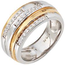 Ring Damenring mit Zirkonia, 925 Silber rhodiniert teilvergoldet Damen