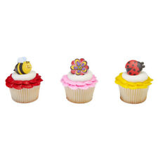 Ladybug Bee Spring Flower cupcake rings (24) party favor cake topper