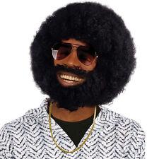 Negro Afro Peluca Rizada + Vello Facial Redondo Africano Jumbo Disfraz MUNGO
