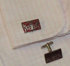 Exquisite vintage Silver tone with Red Enamel men's cufflinks.