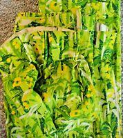 Vtg Bark Cloth Drapes Curtains Fabric 2 Panels MCM Green Yellow Bamboo Flowers