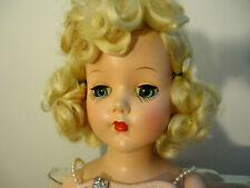 """Vtg 1950S Gorgeous """"R'&B"""" Hard Plastic Beauty Blonde Curls, Nmt, Pink Gown 18'"""