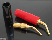 5pairs Gold Plated 2mm Angle Pin 2mm Banana Plug Screw Lock Terminal Connectors
