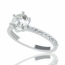 1 CT Shiny Natural Diamond Engagement Ring Round H/SI2 14K White Gold
