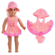 "1Pcs(Hat+skirt+underwear) Summer Pink Dress For 18""Girl Doll Clothes Accessory"