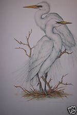 """Great White Egrets"" by Christine Marshall Limited Edition AP Lithograph #16/25"