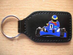 Schlüsselanhänger Kart Cart Rennkart blau Kartfahrer 0654 Llavero Key Holder