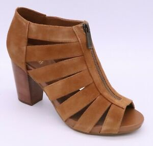 MICHAEL KORS SHERRY 8M MID CAGED SANDAL OPEN TOE SHOES BOOTIE BROWN SUEDE ZIP