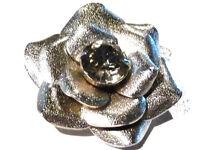Bijou alliage argenté broche pendentif fleur cristal blanc brooch