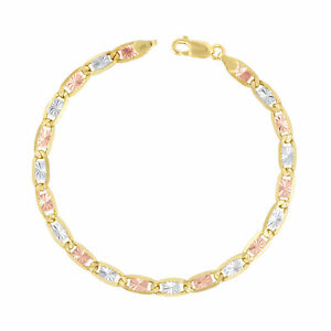 """14K Solid Tri-Color Yellow Rose White Gold 5mm Valentino Chain Bracelet 7""""- 9"""""""