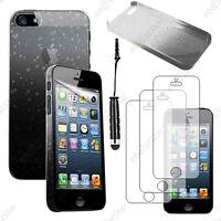 Housse Etui Coque Rigide Gouttes Noir Apple iPhone SE 5S 5+Mini Stylet+3 Films