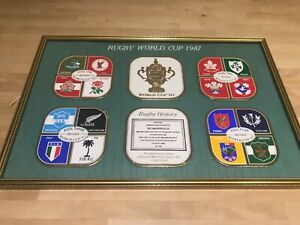 Vintage Collectable Framed Coasters Set of 6 1987 Rugby WorldCup Limited Edition