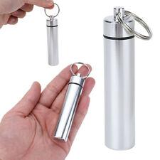 Waterproof Aluminium Pill Box Case Bottle Toothpick Holder Container Keychain