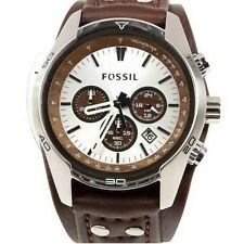 Fossil CH2565 Chronograph Silver Dial Brown Leather Band Men's Watch