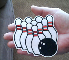 Bowling - Bowling Pins - Bowling Ball - Embroidered Iron On Patch - C