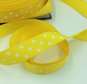 "5/10/ Yards 1""( 25mm)  printed lot large dots Grosgrain Ribbon lot"