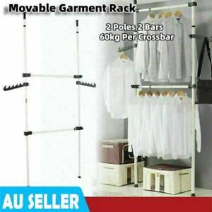 Portable 2 Poles 2 Bars Double Clothes Garment Rack Hanger Clothes Shop Display
