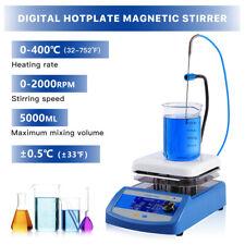 Lcd Digital Magnetic Stirrer Hot Plate Lab Equipment 5l 3 Stir Bars Temp Probe