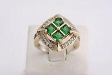 Turkish Handmade 925 Sterling Silver Emerald Topaz  Women's Ring Size 8