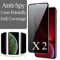 2X For iPhone 11 Pro XS Max XR X 8 Plus Privacy Tempered Glass Screen Protector