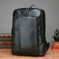 New Fashion Men Black Soft Leather School Backpack Laptop Notebook Travel Bag
