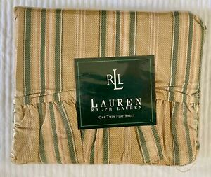 RARE Ralph Lauren Twin Flat Sheet Squire's Path Stripe Merri Neutral NEW NOS