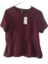 NEW ITEM Ladies Size Petite Medium Burgundy Dressy Blouse Top SS $50 Retail