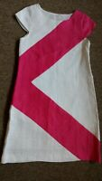 Maggie Greene Womens Pencil Dress Size XS/S Pink White Linen Cap Sleeve Lined